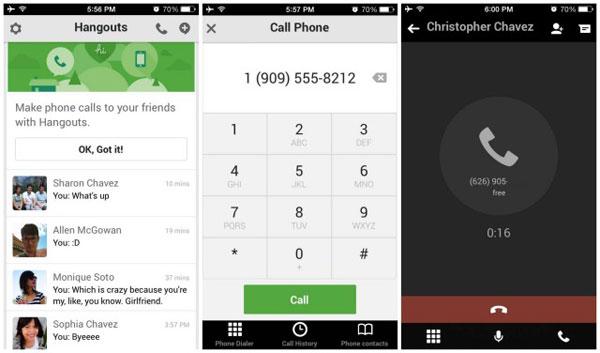Hangouts iOS glasovni pozivi
