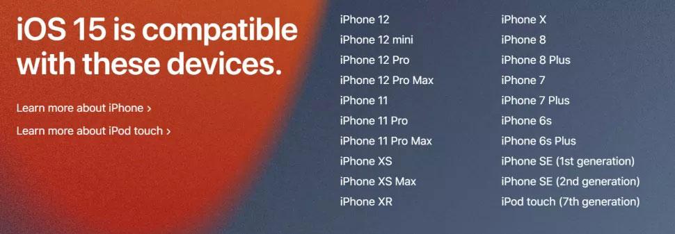 iOS 15 kompatibilni iPhonei